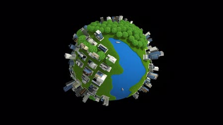blueprint : globe with city building and different means of transport Stock Footage