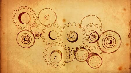 chrom : gears cogs and pinions sketch on old paper Wideo