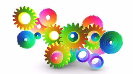 interlock : Perpetuum mobile gears isolated on white background Stock Footage