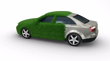 зеленый фон : Eco car made of grass with matte