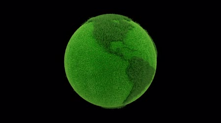 efektywność : Planet earth made of grass looping with matte