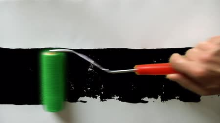 stroke : Paint roller painting on white paper with matte