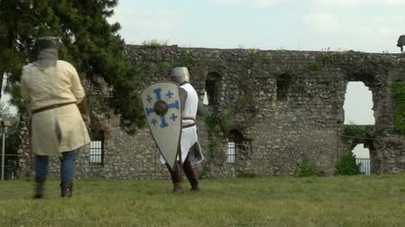 kuşatma : Fighting medieval knights Stok Video