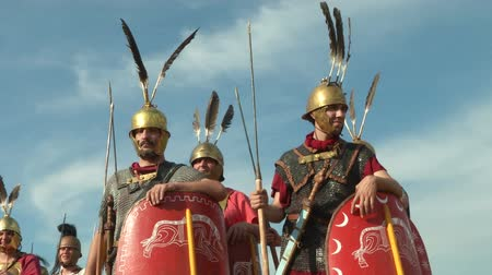 "legionary : AQUILEIA - JUNE 22: Roman legionaries during the reenactment ""Tempora Aquileia"" on June 22, 2013 in Aquileia, Italy Stock Footage"