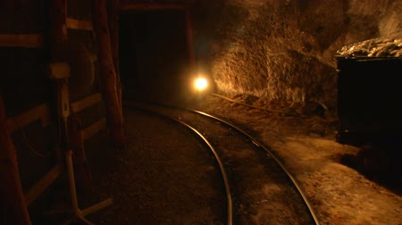 srebro : Mine tunnel with rails and light