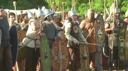 "silahlar : AQUILEIA - JUNE 23: Gaulish warriors during the reenactment of the battle of Aquileia (180 BC)"" on June 23, 2013 in Aquileia, Italy"