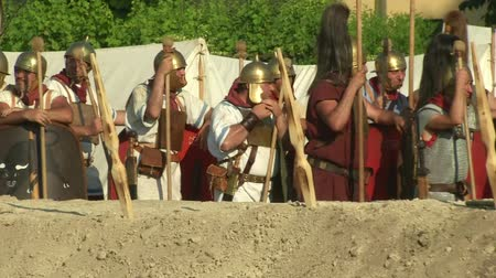 legion : AQUILEIA - JUNE 23: Roman legionaries during the reenactment of the battle of Aquileia (180 BC) on June 23, 2013 in Aquileia, Italy Stock Footage