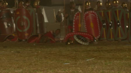 silahlar : AQUILEIA - JUNE 22: Reenactment of the night attack by gaulish warriors against the roman castrum during the battle of Aquileia (180 BC) on June 22, 2013 in Aquileia, Italy