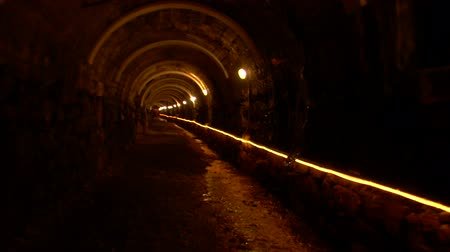 underground tunnel : Walking in a mining cave