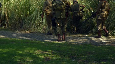 druhé světové války : US infantry patrols during the reenactment of Normandy landings on 18 may 2014 in Signa, Italy Dostupné videozáznamy