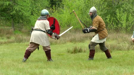 silahlar : Gaelish warriors fighting during a reenactment on May 3, 2014 in Masserano, Italy