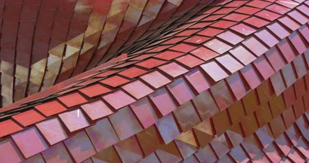 glass structure : Architectural red metal tile pattern