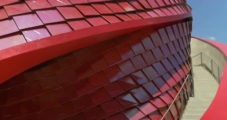 Architectural red metal tile pattern