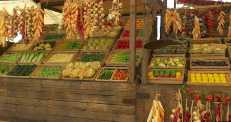 zöldségek : Fresh vegetables assortment in boxes and garland on wooden shelf Stock mozgókép