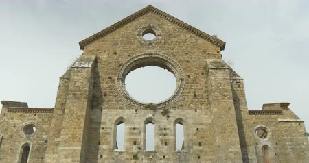 roofless : San Galgano medieval uncovered Abbey church ruins. Tuscany, Italy