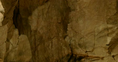 subterranean : Limestone rocks, stalactites and stalagmites in a cave Stock Footage
