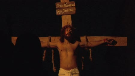 jézus : Via Crucis Way of the Cross. Representation of passion of Christ Stock mozgókép