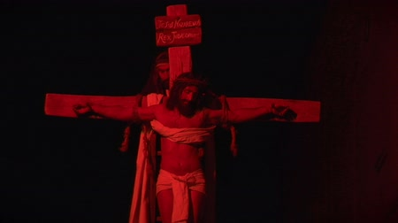 coroa : Via Crucis Way of the Cross. Representation of passion of Christ Vídeos
