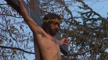 jezus : Via Crucis Way of the Cross. Representation of Jesus crucifixion
