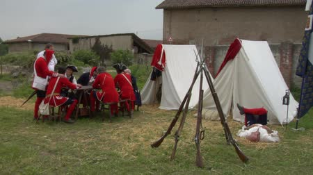 coalition : Historical reenactment of Battle of Staffarda fought during Nine Years War in Piedmont-Savoy northern Italy between Louis XIV and Duke of Savoy army on 18 August 1690.