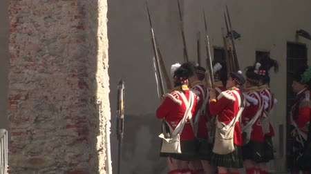 sabotage : Reenactment of battle between French and British soldiers during Napoleonic War at Loano Italy in 1812 Stock Footage