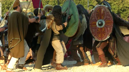 vespasian : Reenactment of the final battle between the army of Vespasian and the army of Vitellius in the Roman Civil War (AD 69) during the Birth of Rome celebration on 21 April 2014, Rome (Italy) Stock Footage