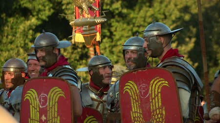 legion : Reenactment of the final battle between the army of Vespasian and the army of Vitellius in the Roman Civil War (AD 69) during the Birth of Rome celebration on 21 April 2014, Rome (Italy) Stock Footage