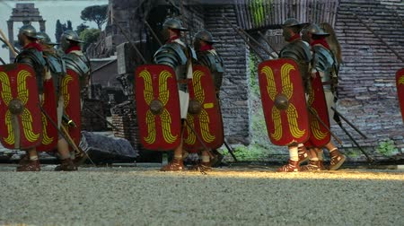 legion : Vespasian army marching on Rome in the Roman Civil War (AD 69) during the Birth of Rome celebration on 21 April 2014, Rome (Italy)