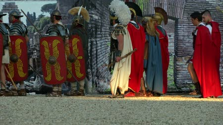 vespasian : Vespasian army marching on Rome in the Roman Civil War (AD 69) during the Birth of Rome celebration on 21 April 2014, Rome (Italy)