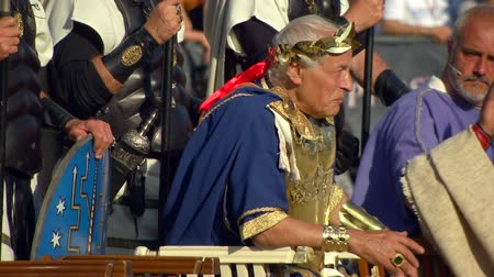 caesar : Roman emperor during the Birth of Rome celebration on 21 April 2014, Rome (Italy) Stock Footage