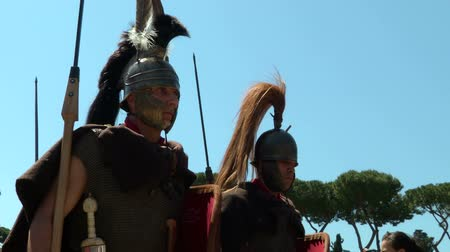 legionary : Roman legionaries during Birth of Rome celebration on 21 April 2014, Rome (Italy) Stock Footage