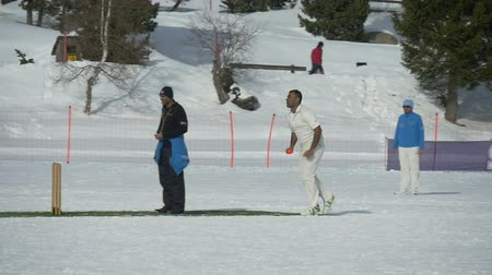 подача : A cricket bowler throws a ball in a cricket match during Cricket on Ice in St. Moritz (Switzerland) on 18th February 2016 - slow motion Стоковые видеозаписи