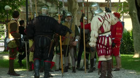 villain : Renaissance army waiting for the battle during Verona Rinascimentale reenactment on May 24, 2014 in Verona, Italy Stock Footage