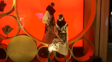 milan fashion : Female mannequins on a red background