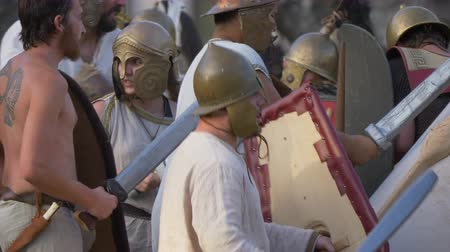 legionary : The final battle between the army of Catiline and the army of Antonious in the Roman Civil War (AD 63) during the reenactment 'Back In Time' on July 29, 2017 in Arezzo (Italy)