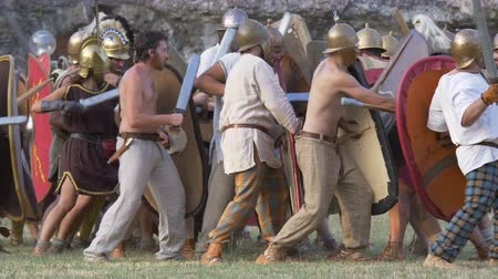 legion : The final battle between the army of Catiline and the army of Antonious in the Roman Civil War (AD 63) during the reenactment 'Back In Time' on July 29, 2017 in Arezzo (Italy) Stock Footage