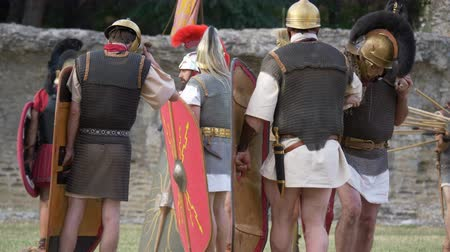 silahlar : Battle between Gaulish warriors and Roman legionaries during the reenactment 'Back In Time' on July 29, 2017 in Arezzo (Italy)