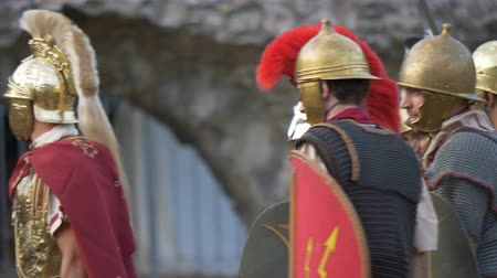 legion : Battle between Gaulish warriors and Roman legionaries during the reenactment 'Back In Time' on July 29, 2017 in Arezzo (Italy)