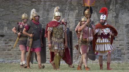 legionary : Roman legion in the Roman Gallic war during the reenactment 'Back In Time' on July 29, 2017 in Arezzo (Italy)