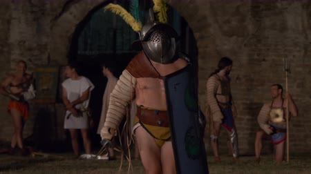čest : A Murmillo (gladiator in the Roman Imperial age) during the reenactment 'Back In Time' on July 29, 2017 in Arezzo (Italy)