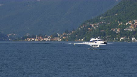 hydroplane : Floatplane preparing to take off on Lake Como in Italy Stock Footage