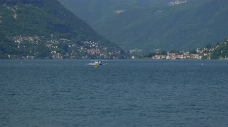 hydroplane : Floatplane landing on Lake Como in Italy