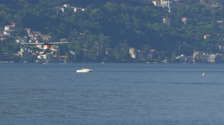 hydroplane : Floatplane landed on Lake Como in Italy