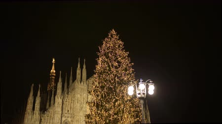 milan fashion : Christmas tree lights decorations and Duomo cathedral at night, December 2017, Milan (Italy)