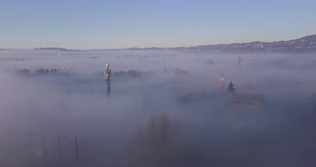 パイロン : Aerial view of a fog-covered valley in the morning, electrical pylon emerging from heavy fog