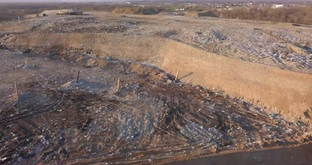 buldozer : Aerial view of a solid waste landfill