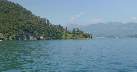 Villa del Balbianello and its garden on a small wooded peninsula overlooking Lake Como, Italy Стоковые видеозаписи