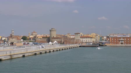 The terminal of ferries in the port of Livorno, Italy