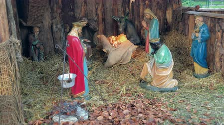 jesus born : Christmas nativity scene represented with statuettes of Mary, Joseph, Jesus and magi