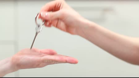 получать : Giving and taking metal key. Video illustrates idea of renting apartment or buying house